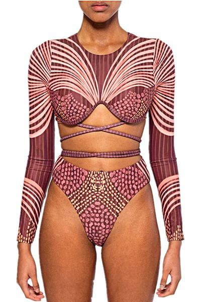 Luxe High Rise Round Collar Abstract Print Bandage Bikini