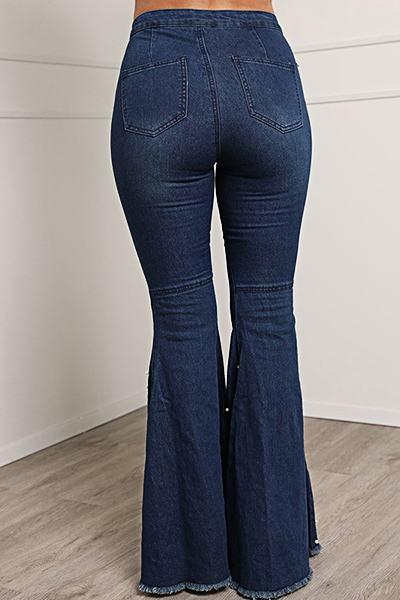 Patchwork Pearls High Rise Slim Fit Romantic Long Flared Jeans