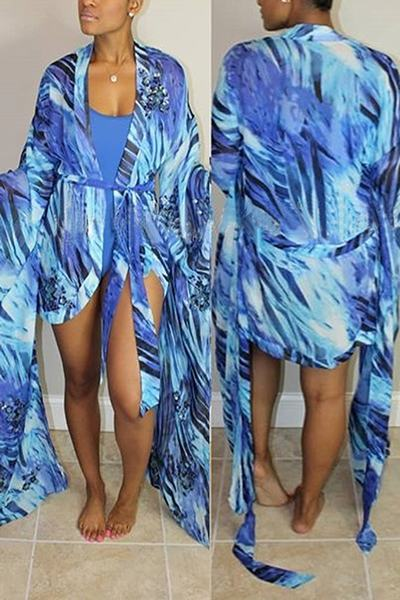 Printed Beach Robe Wrap Cover Up & Plain One Piece Swimsuit
