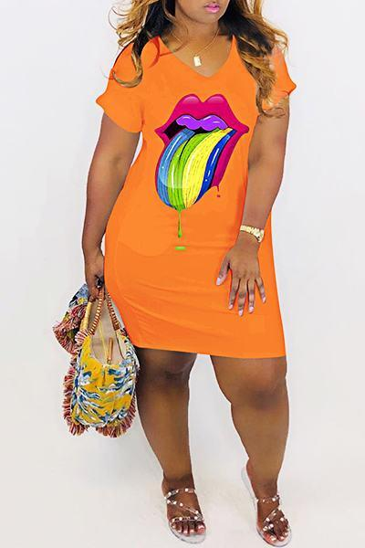 Colorful Mouth Print Short Sleeve V Neck On-trend Mini Dress