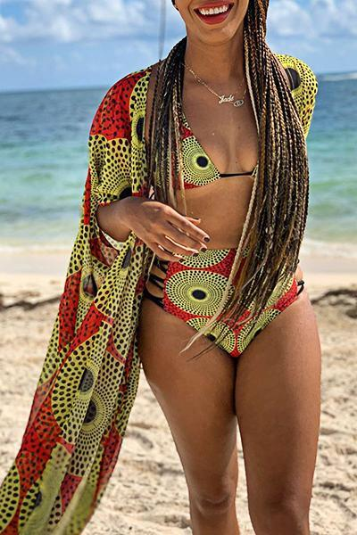 Tribal Print Half Sleeve Halter Neck Retro Three Piece Swimsuit