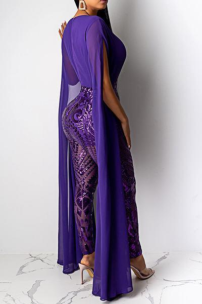 Purple Embroidery Split Sleeve Deep V Neck Whimsical Long Jumpsuit