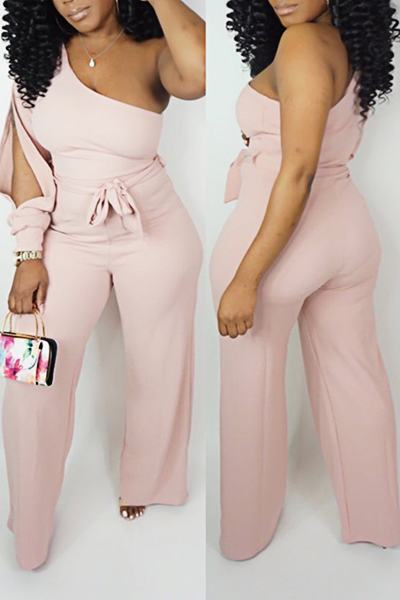 Plain Split Sleeve One Shoulder Chic Bows Long Jumpsuit