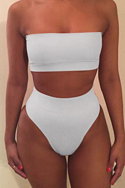 Solid Color High Waist Bandeau Bold Two Piece Bikini