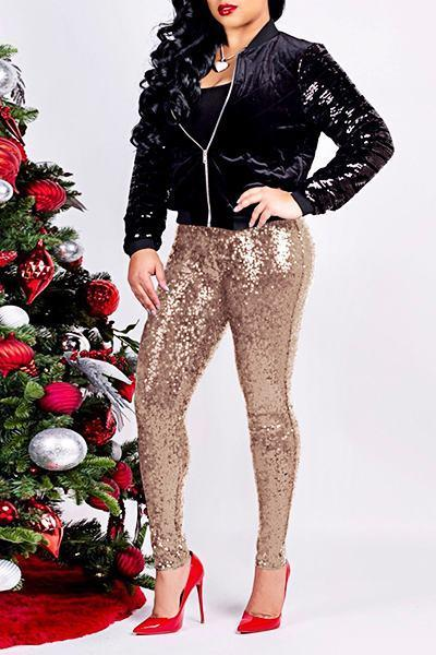 Sequinned Plain Medium Rise Skinny Fit Sparkly Long Pants