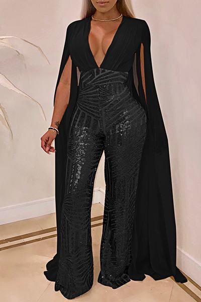 Sequinned Plain Split Sleeve Deep V Neck Glittery Long Jumpsuit