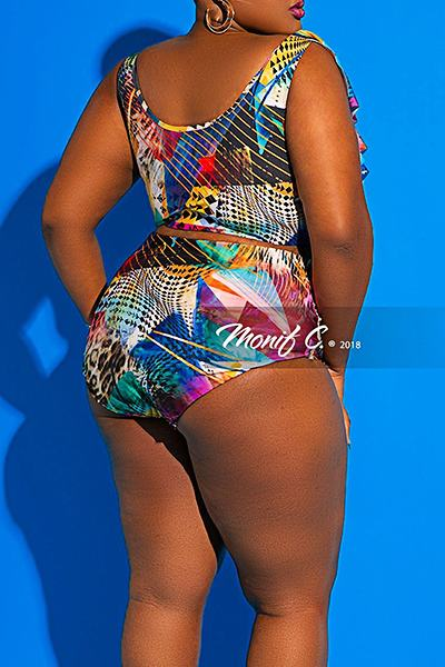 Abstract Print High Waist Off Shoulder On-trend Plus Size Bikini