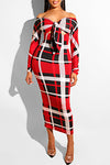 Plaid Long Sleeve Off Shoulder Bright Knotted Midi Dress