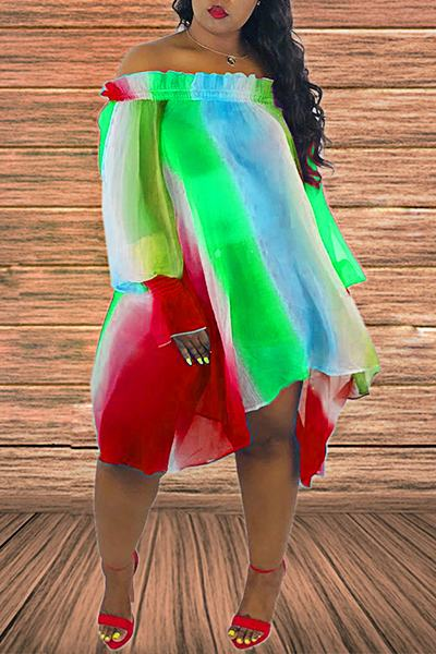 Tie Dye Long Sleeve Off Shoulder Smart Multi-Length Princess Dress