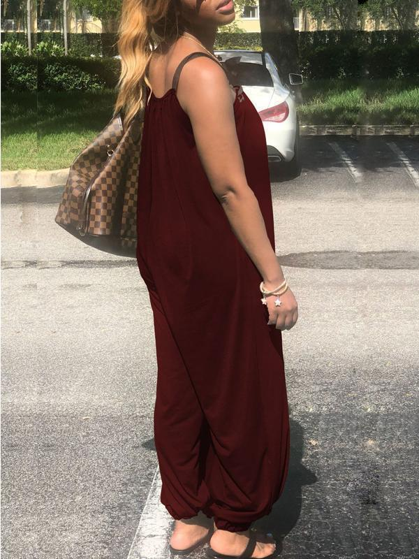 Sleeveless Solid Color Loose Jumpsuit
