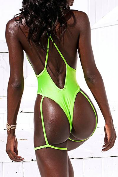 Solid Color High Waist Deep V Neck Edgy One Piece Swimsuit