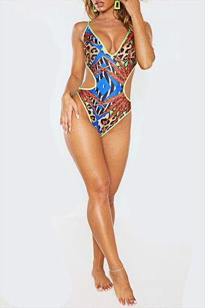 Graphic Print Suspenders Hippy Cutout Plus Size Monokini