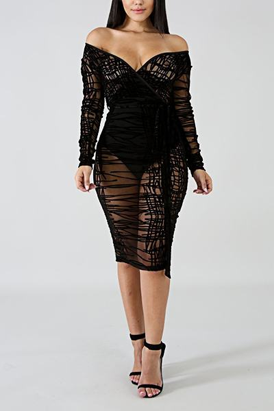 Black Long Sleeve V Neck Feminine One Piece See-through Plus Size Dress