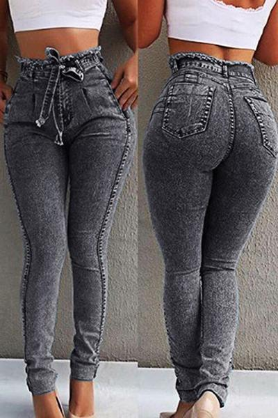 Bleached Medium Rise Skinny Fit Basic Plus Size Jeans With Belt
