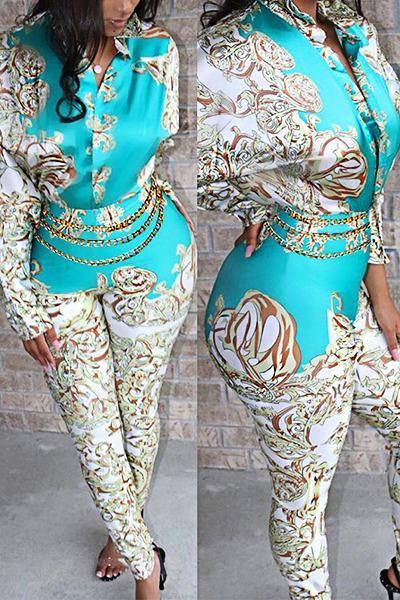 Graphic Print Long Sleeve Shirt Collar Nautical Empire Jumpsuit