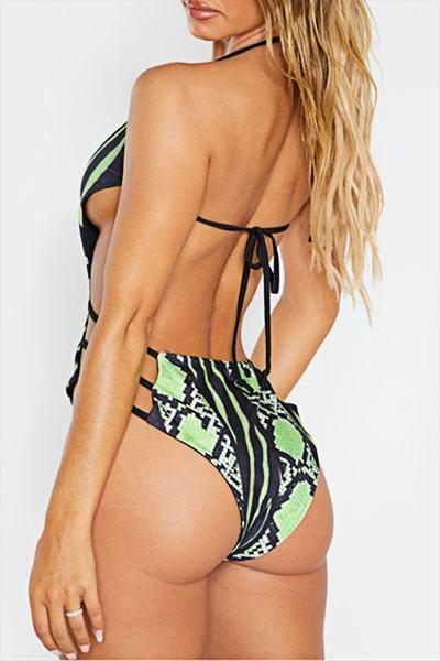 Snake Print Halter Neck Retro Bandage Plus Size One-Piece Swimsuit