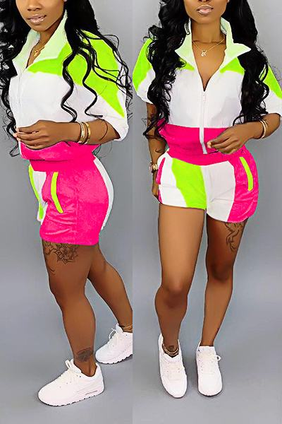 Color Block Half Sleeve Shirt Collar Sporty Two Piece Set