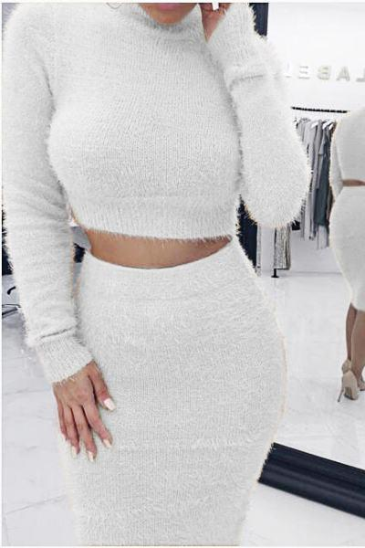 Solid Color Long Sleeve High Neck Smart Cropped Sweater & Skirt Set