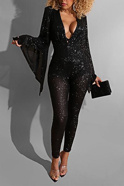 Plain Trumpet Sleeve Deep V Neck Sparkly Long Jumpsuit