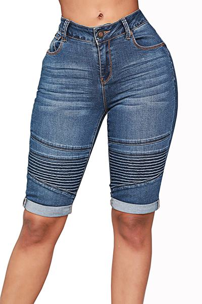 Plain Medium Rise Slim Fit Stylish Knee-Length Short Jeans