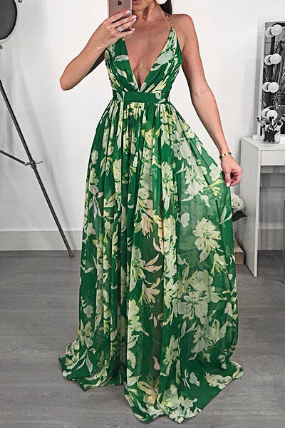 Floral Print Deep V Neck Sleeveless Long Gown Dress