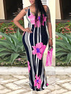 Stripe & Flower Print Sleeveless Low Cut Maxi Sheath Dress WhatLovely