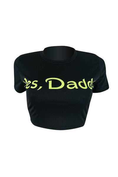 Yes Daddy Print Cap Sleeve Crew Neck Crop Top T-Shirt WhatLovely