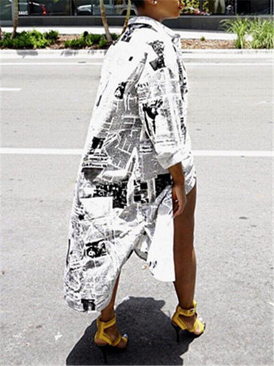 Newspaper Print Shirtdress