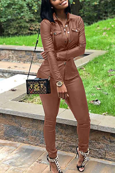 Black Long Sleeve Leather/PU Shirt Top & Leggings Set