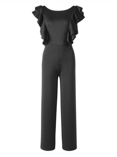 Frilled Backless Jumpsuit