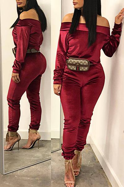 Plain Long Sleeve Off Shoulder Luxe Corduroy Two Piece Set