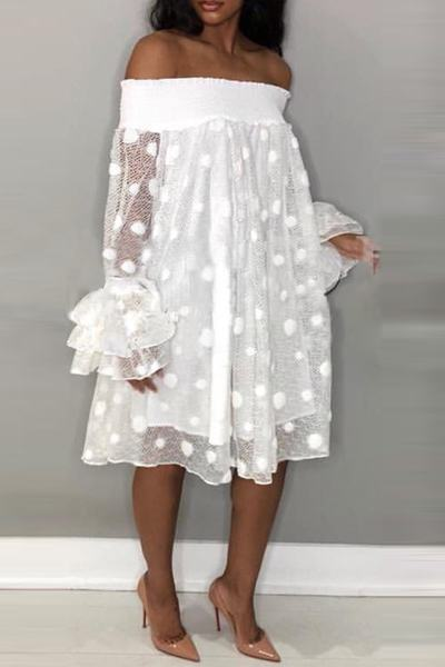 Polka Dot Off Shoulder Ruffle Sleeve Knee-Length Dress