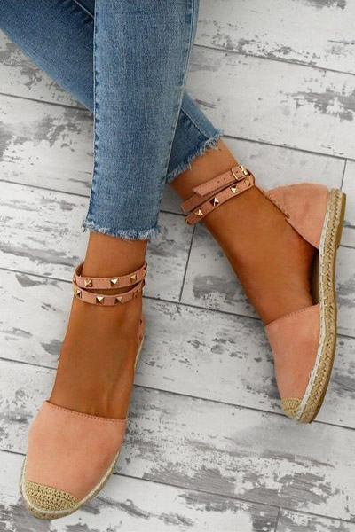 Flat Rope Soled Cotton Espadrilles w/ Studded Ankle Strap