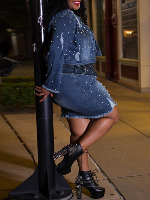 Plus Size Studded Denim Jacket & Skirt Set
