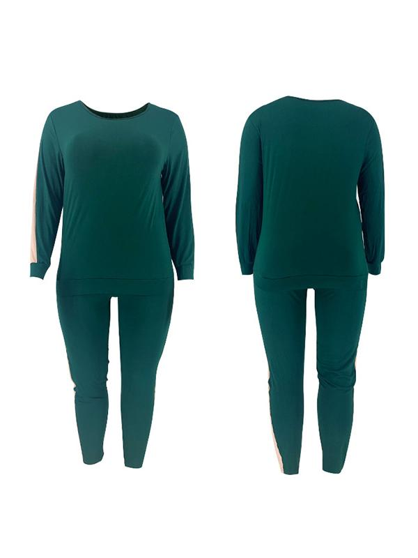 Plus Size Contrast Sweatshirt & Pants Set
