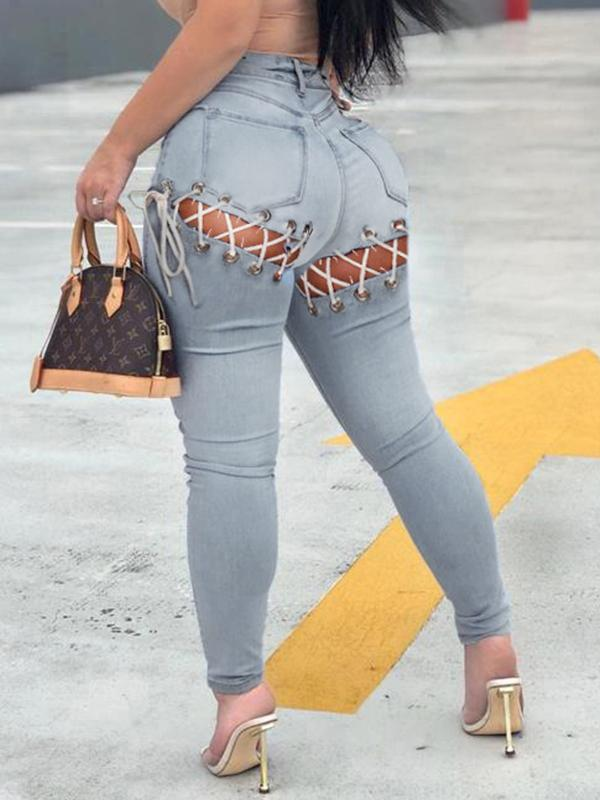 Lace-Up Skinny Jeans