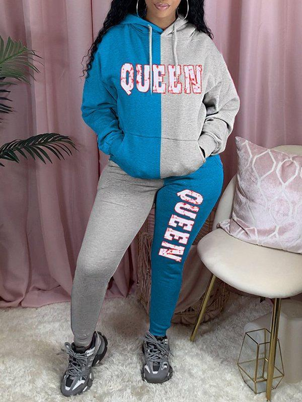 QUEEN Two-Tone Hoodie & Pants Set
