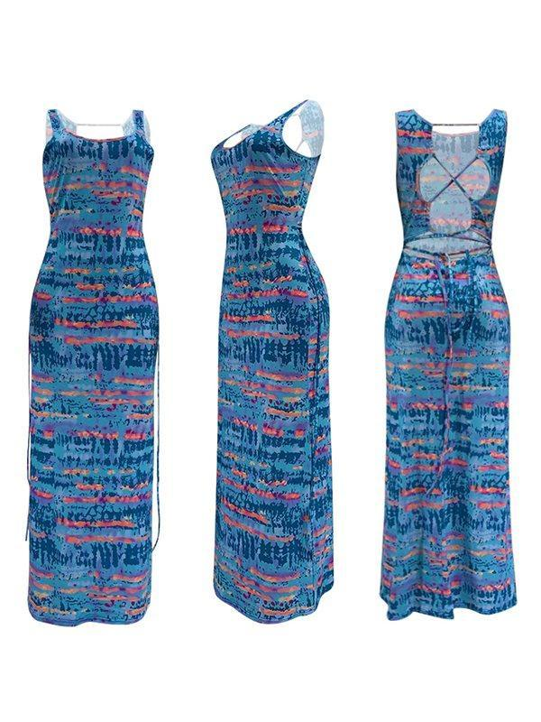 Printed Tied-Back Maxi Dress