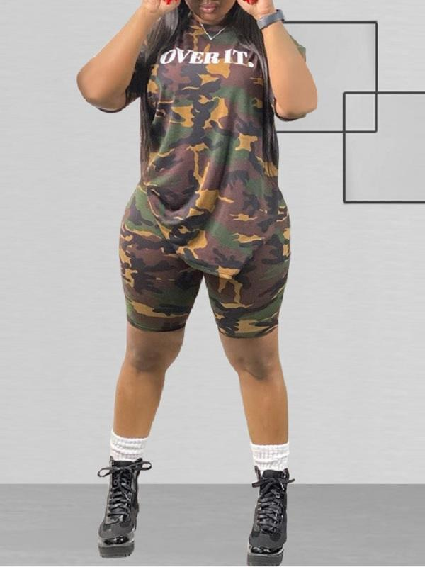 Plus Size Camo Tee & Biker Shorts Set