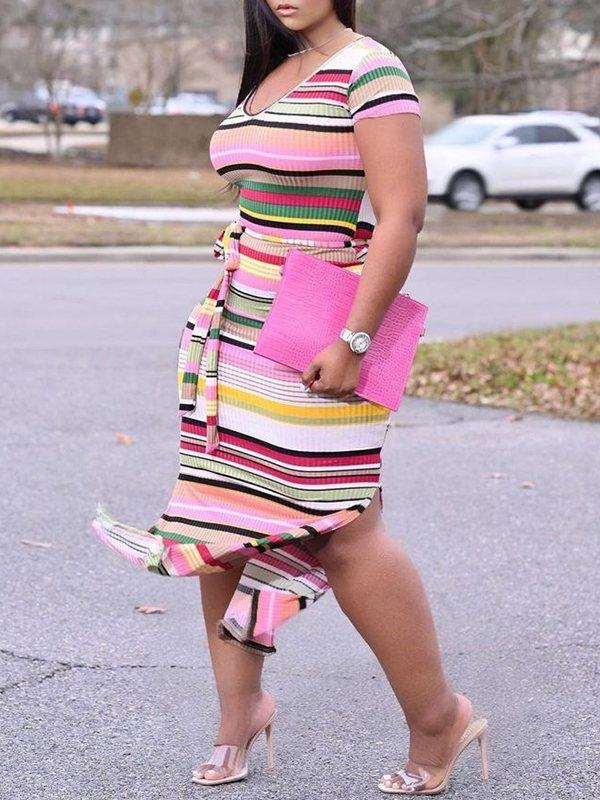 Stripe Belted Slit Dress