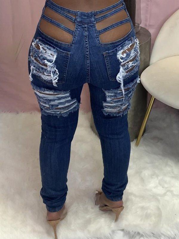 Distressed Cutout Jeans