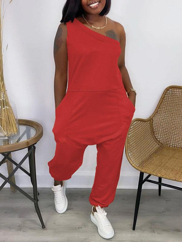Solid One-Shoulder Jumpsuit