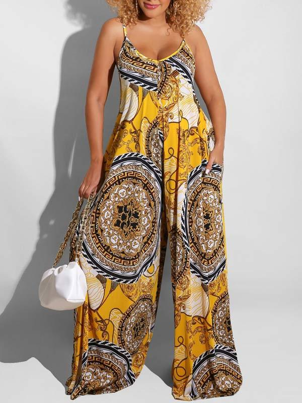Printed Cami Wide-Leg Jumpsuit