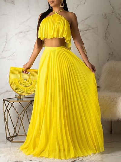 Pleated Halter Top & Skirt Set