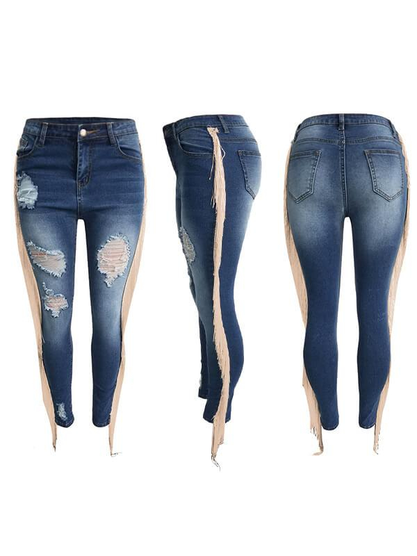Distressed Tassel Jeans