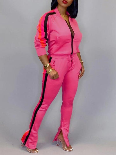 Side-Stripe Zip-Front Jacket & Slit Pants Set