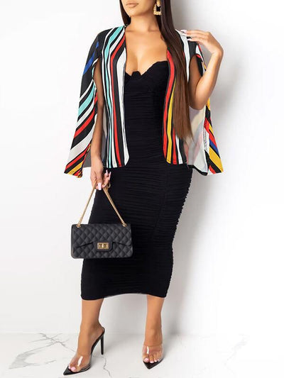 Multicolor Stripe Cape