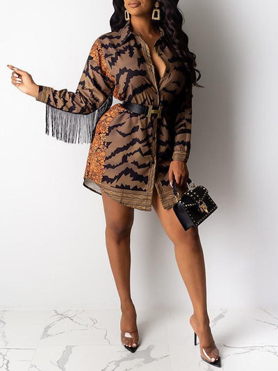 Fringe Combo Printed Shirt Dress