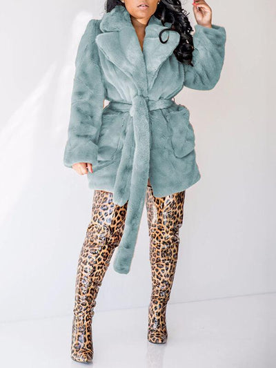 Fuzzy Belted Coat