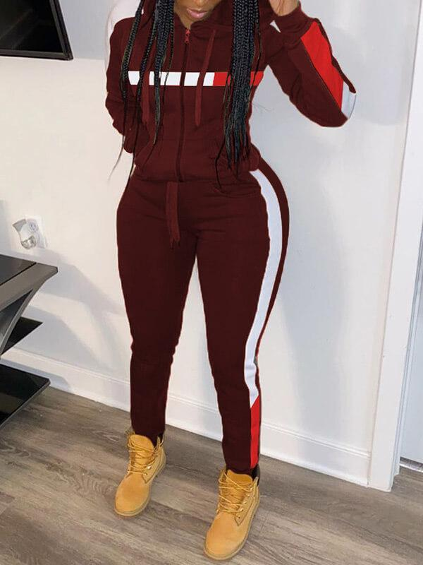 Side-Stripe Zip-Front Hoodie & Pants Set